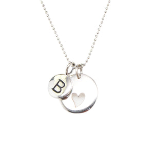 Silver Initial & Heart Charm Necklace
