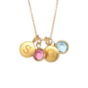 2 Gold Initial & 2 Birthstone Charm Necklace