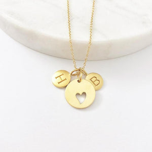 Gold 2 Initial & Heart Charm Necklace