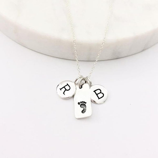 Silver Initials & Footprint Charm Necklace