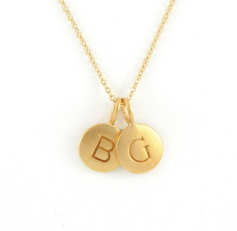 gold 2 initial charm necklace