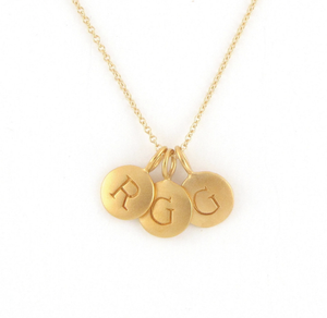 Gold 3 Initial Charm Necklace
