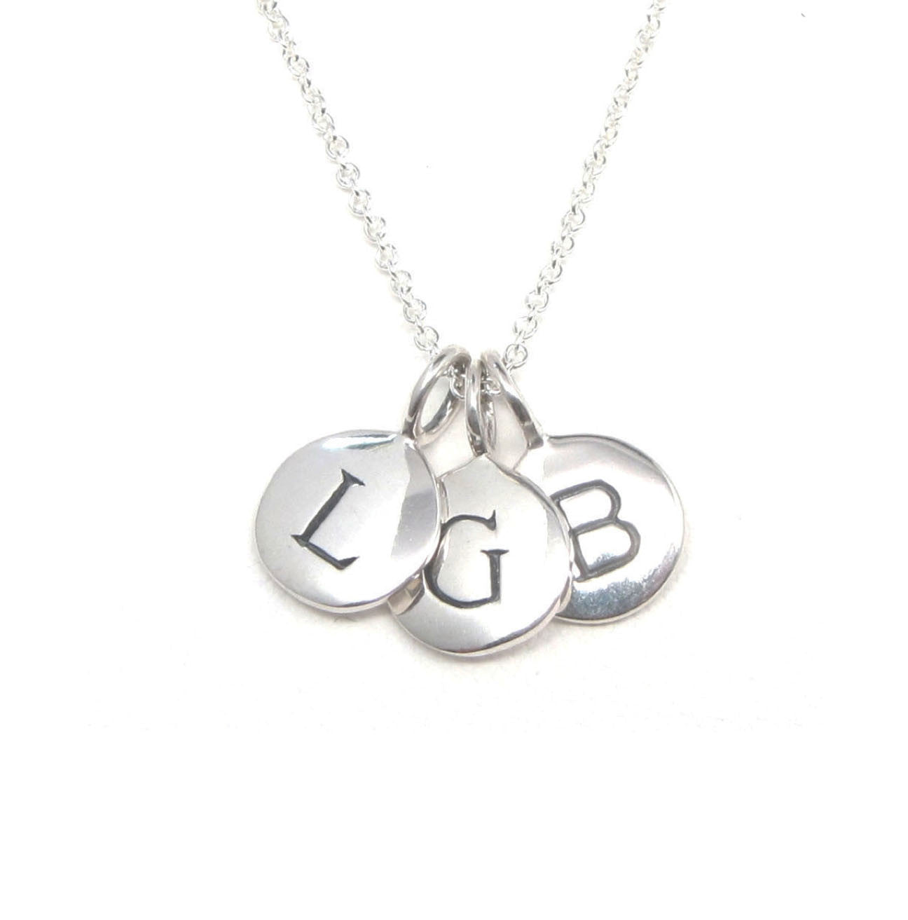 Silver 3 initial charm necklace tangerine jewelry shop silver 3 initial charm necklace mozeypictures Image collections