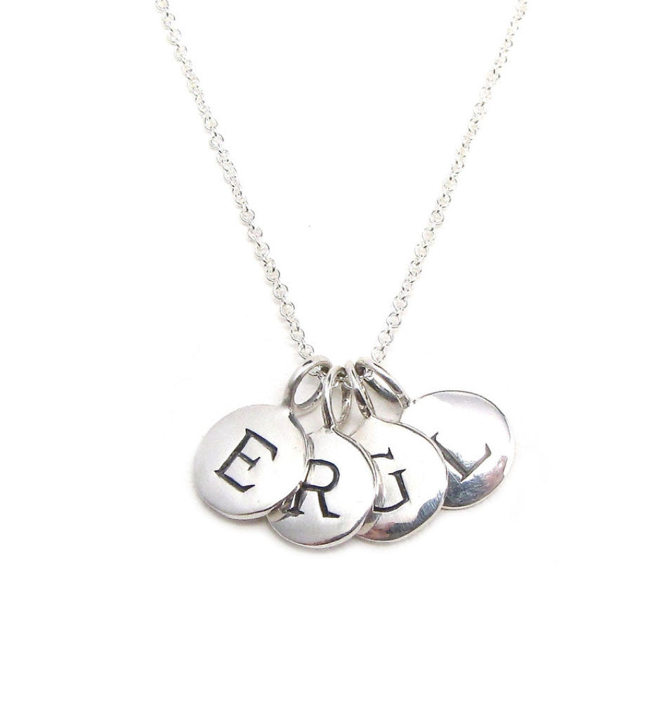 Silver 4 Initial Charm Necklace