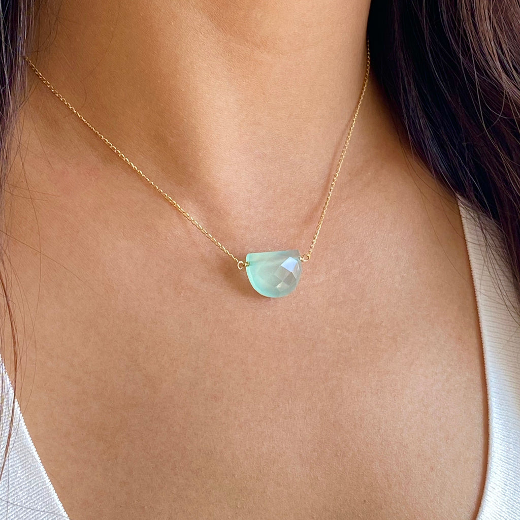 Half Moon Gemstone Necklace