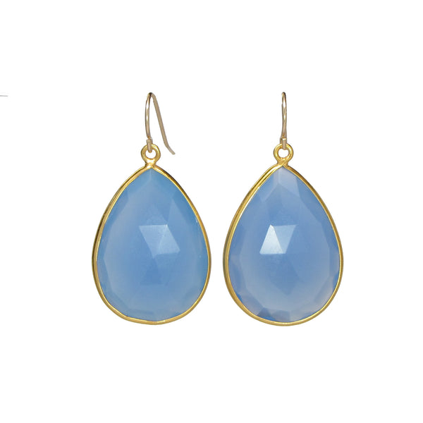Large Blue Chalcedony Drop Earrings