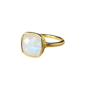 Moonstone Square Gold Ring