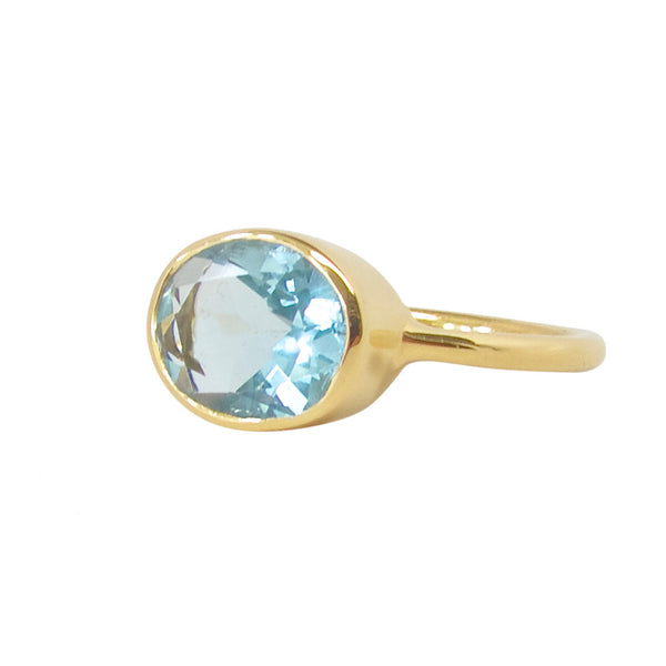 Blue Quartz Oval Gold Ring
