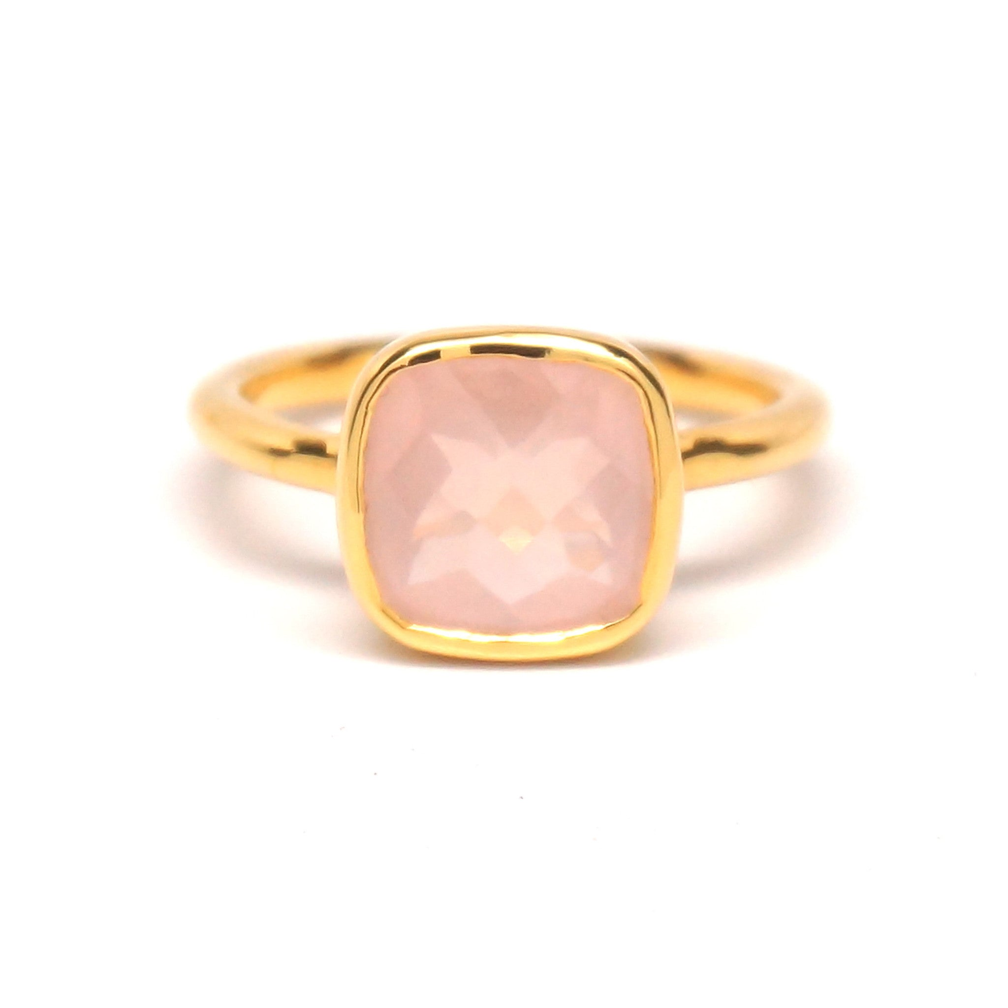 ring cocktail gemstone blanche rings lily quartz gold rose luminous rutilated