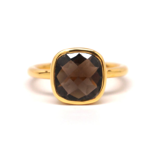 Smokey Quartz Square Gold Ring