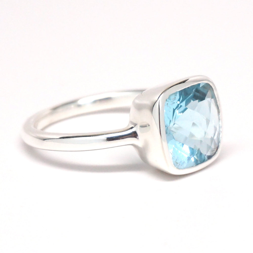 Blue Quartz Square Sterling Silver Ring
