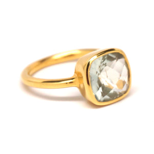 Green Quartz Square Gold Ring