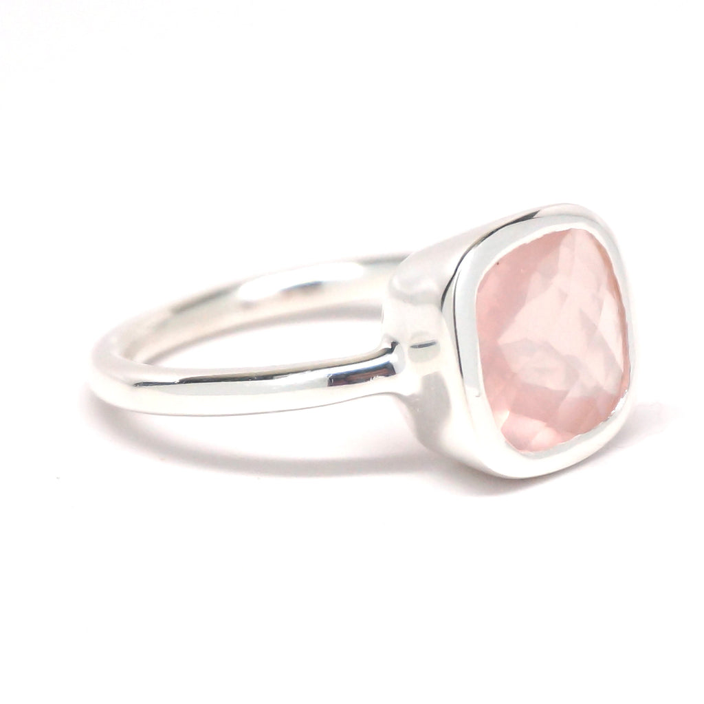 Rose Quartz Square Silver Ring