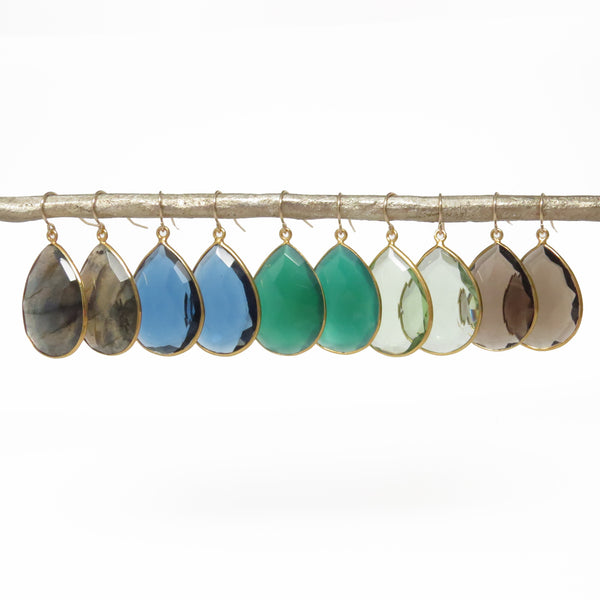 Gemstone Gold Drop Earrings