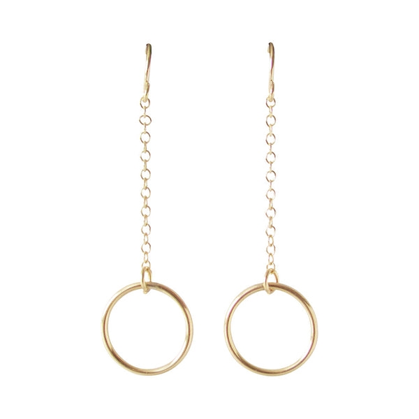 Gold Dangle Circle Earrings