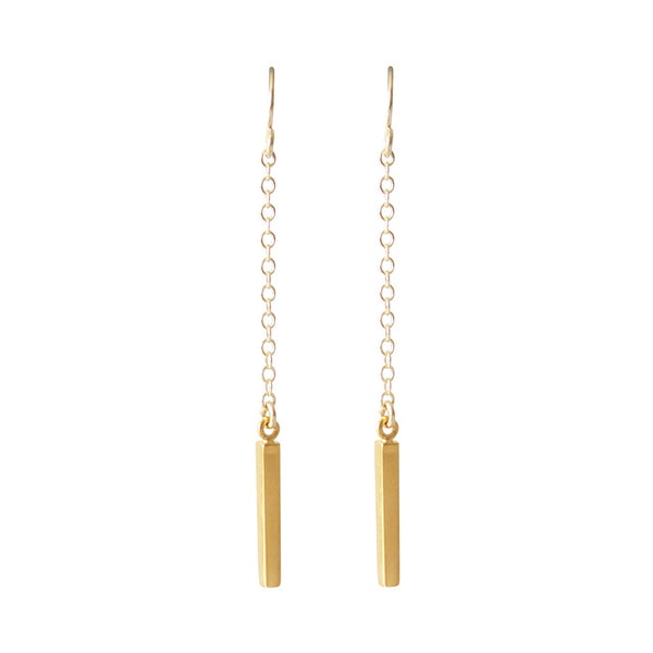 Gold Dangle Bar Earrings