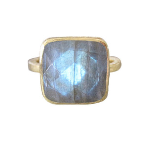 Square Labradorite Gold Ring