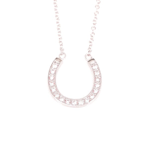 Cubic Zirconia Horseshoe Pendant Necklace
