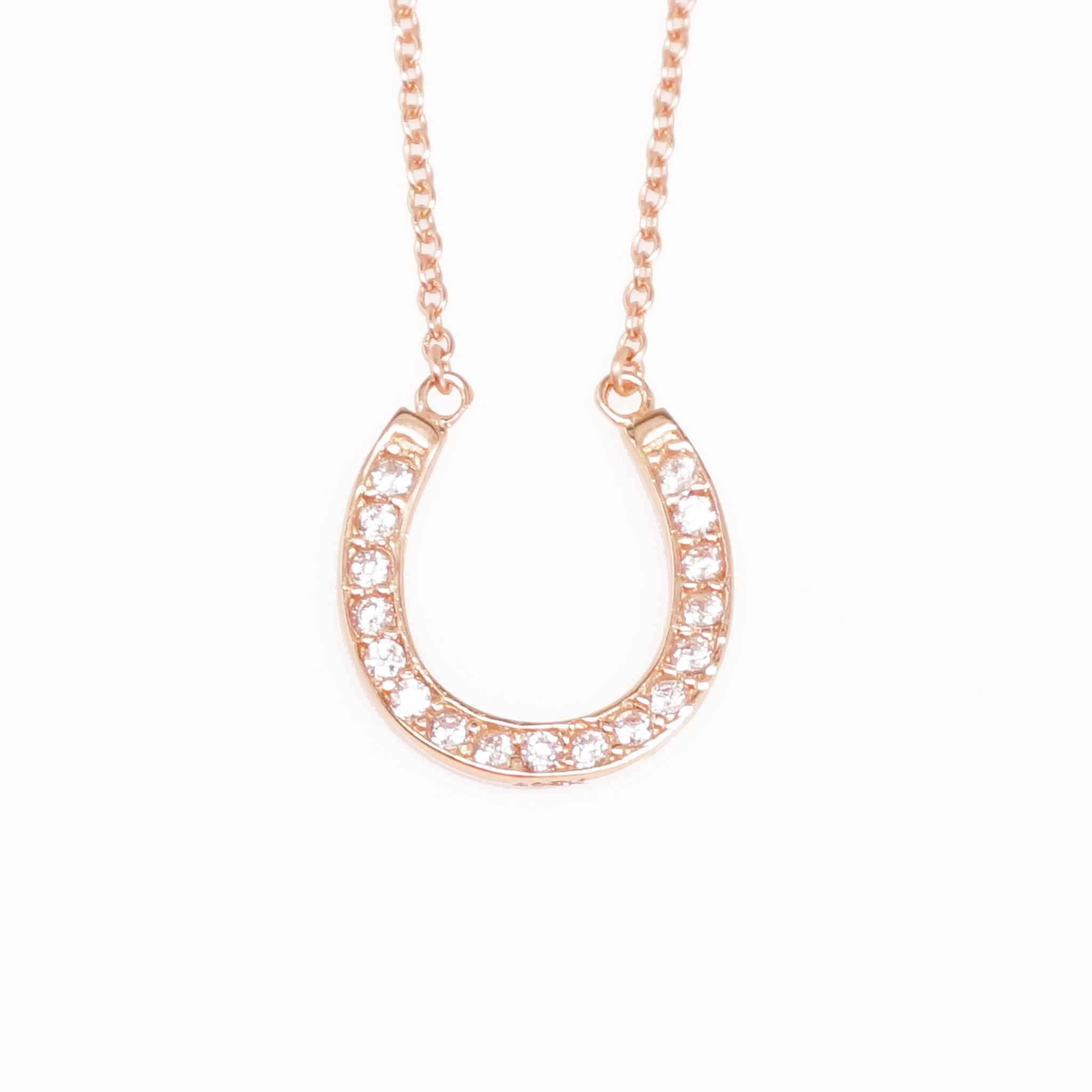 of necklace en horse ladies london hires essentials links horseshoe rose gold ascot diamond gb vermeil