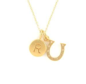 Gold Initial & Horseshoe Charm Necklace