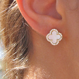 Mother of Pearl CZ Clover Stud Earrings