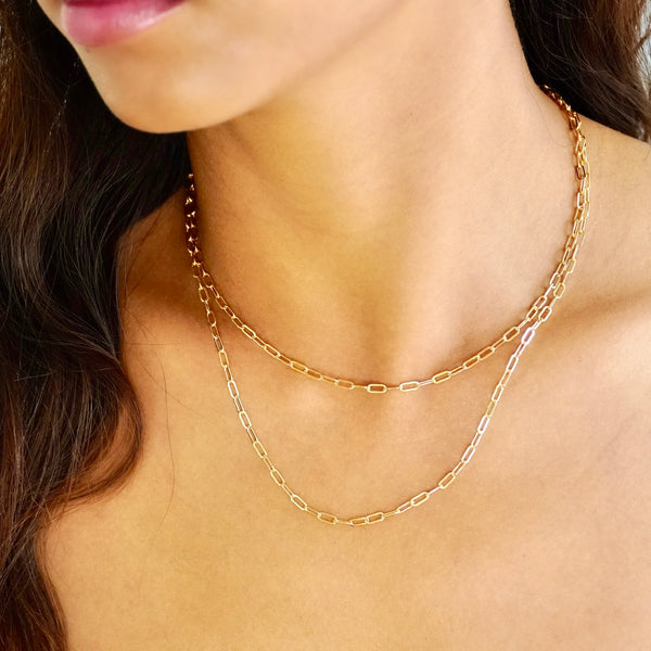 Gold Paper Clip Layering Necklace