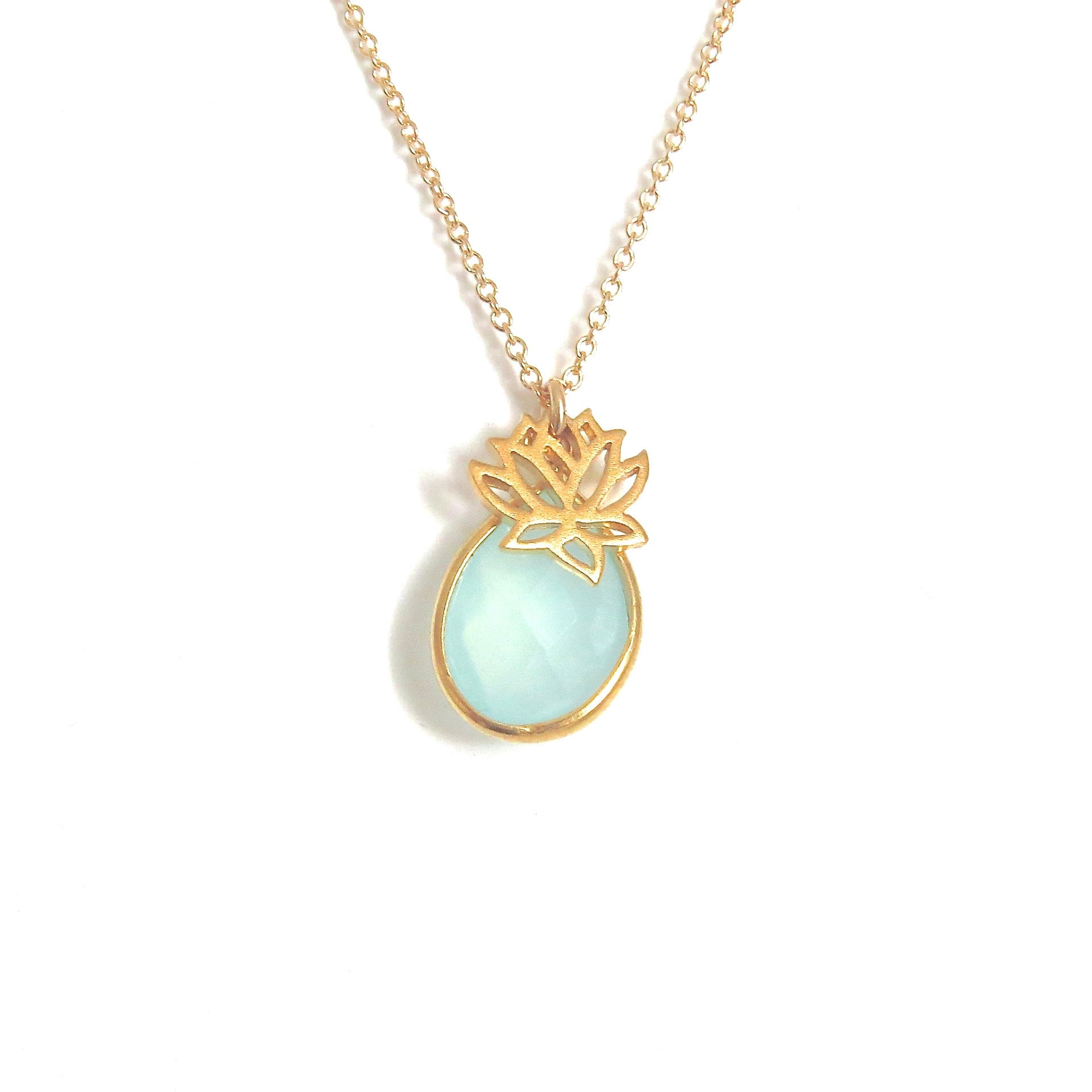 Lotus Flower Gold Necklace With Gemstone Accents Tangerine Jewelry
