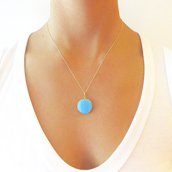 Turquoise Round Pendant Necklace