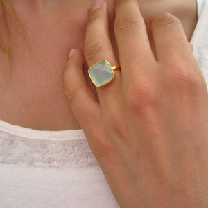 Square Aqua Chalcedony Gold Ring