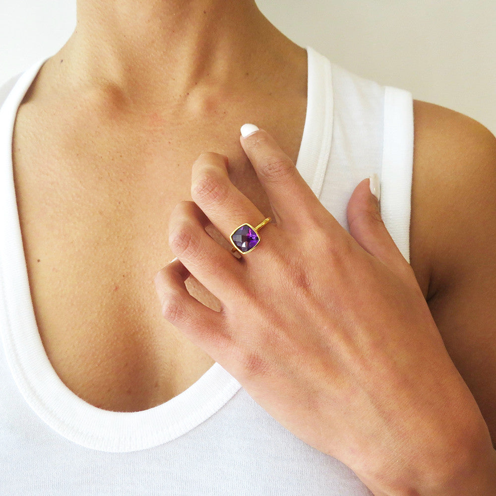 Purple Quartz Square Gold Ring