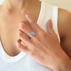 Blue Chalcedony Square Sterling Silver Ring