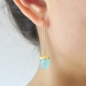Long Gold Gemstone Earrings