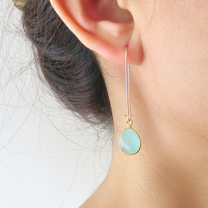 Long Gold Dangle Gemstone Earrings
