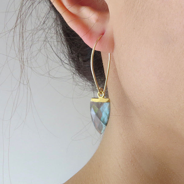 Gold Spear Gemstone Earrings
