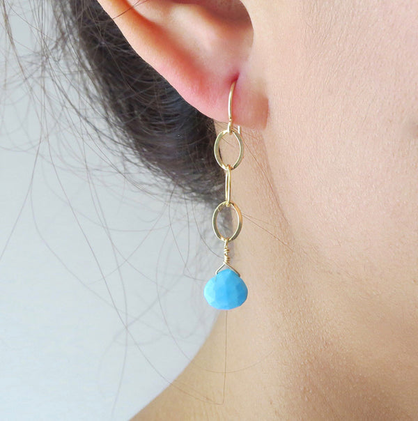 Gold Dangle Turquoise Drop Earrings