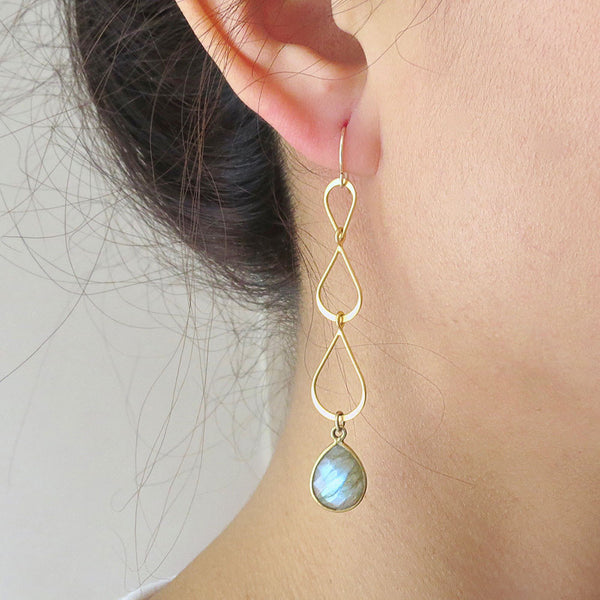 Three Tier Gemstone Gold Earrings