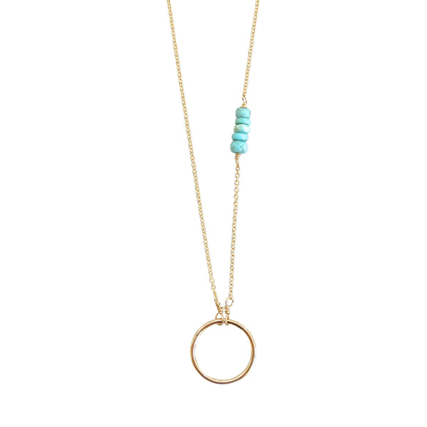 Circle Necklace with Turquoise Accents - Small