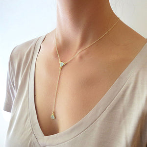 Aqua Chalcedony Gold Lariat Necklace