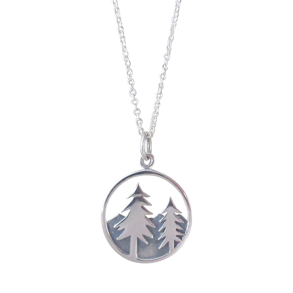 Tree & Mountain Pendant Necklace