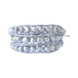 Fresh Water Pearl Grey Wrap Bracelet