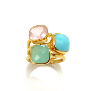 Blue Quartz Square Gold Ring