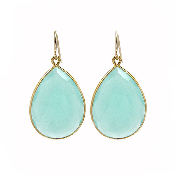 Large Aqua Chalcedony Drop Earrings