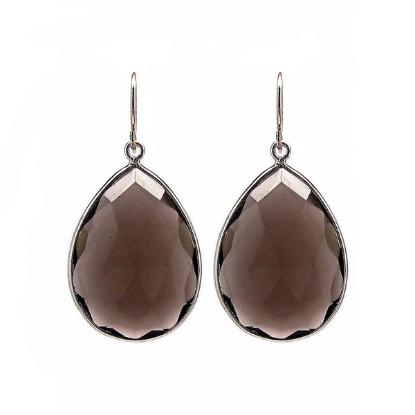 Large Smokey Quartz Drop Earrings