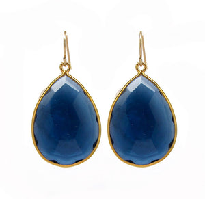 Large Gemstone Gold Drop Earrings