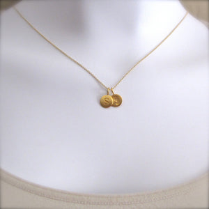 Gold Initial & Footprint Charm Necklace