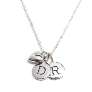 2 Silver Initial & Puffed Heart Charm Necklace