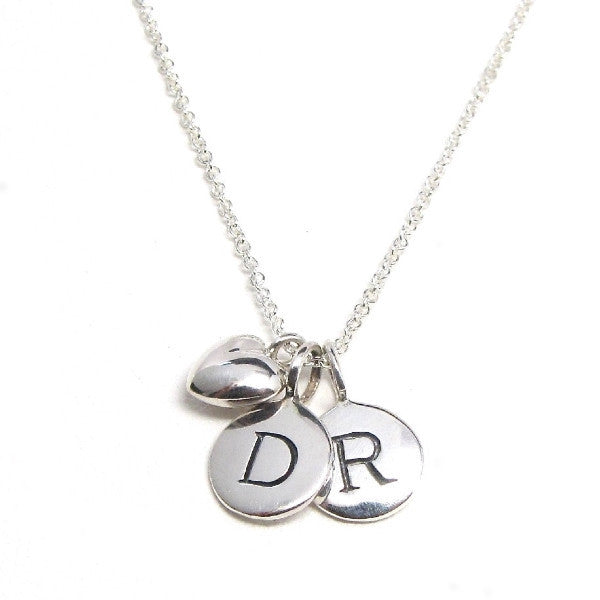 2 Silver Initial Amp Puffed Heart Charm Necklace Tangerine