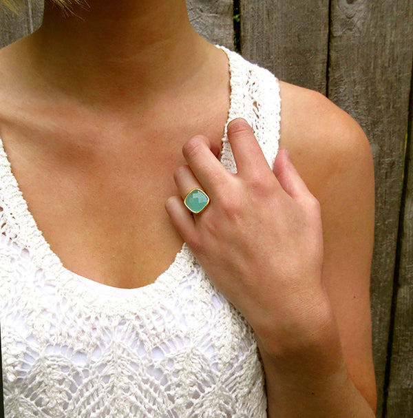 Aqua Chalcedony Statement Ring