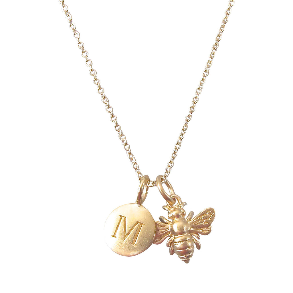 Bee and Initial Charm Necklace