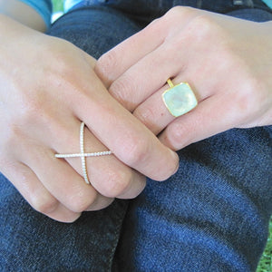 Square Prehnite Gold Ring